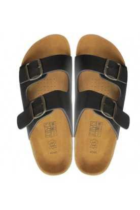 Sandales à la cannelle en cuir et en liege (noir)