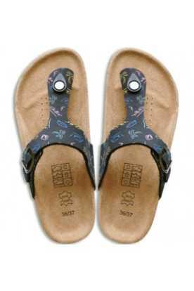 Leather & Cork Cinnamon Flip-Flops (black with...