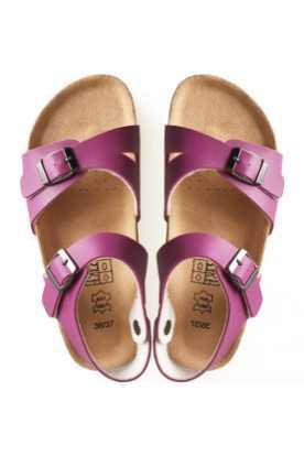 Sandales à la cannelle en cuir et liège rouge...