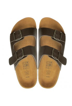 Leather & Cork Cinnamon Sandals Dark Brown