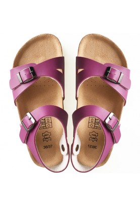 Leather & Cork Cinnamon Sandals Red Violet...