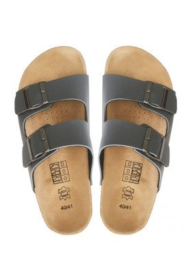 Leather & Cork Cinnamon Sandals Gray