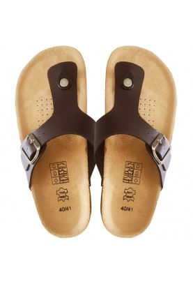 Leather & Cork Cinnamon Flip-Flops (Dark Brown)